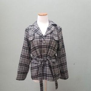 XCVI Plaid Belted Pea Coat Jacket Gray Small NWT